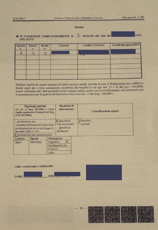 dichiarazione anagrafe apistica