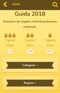 <em>Pannello dedicato alla ricerca per numero di gocce assegnate, per categoria florale del miele e per regione di provenienza</em>.